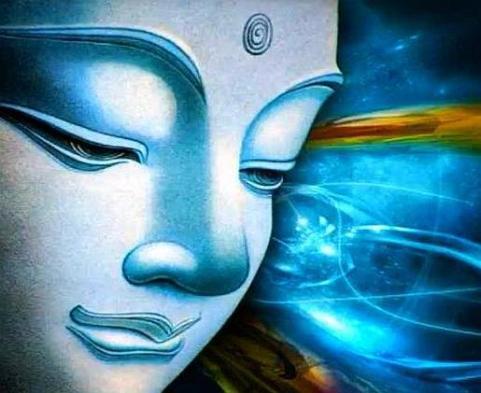 blue buddha face
